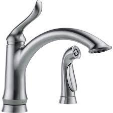 electronic kitchen faucets shop delta linden arctic stainless 1 handle deck mount high arc
