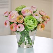 Flowers Glass Vase Jane Seymour Botanicals 10 In Ranunculus In Glass Vase Silk