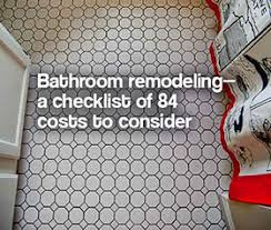 Cost To Remodel Master Bathroom Bathroom Remodeling A Checklist Of 84 Costs To Consider