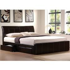 bedroom wooden king size platform bed frame with drawer using