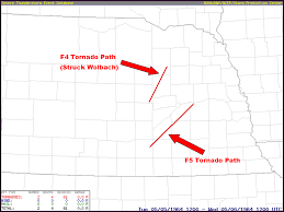 Map Of Counties In Nebraska May 5 1964 F5 Tornado Tracks From Adams To Butler County
