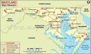 Places to visit in maryland map of maryland attractions