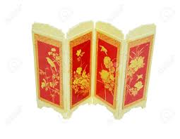 oriental room divider screen decorated with asian symbols and