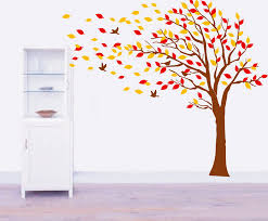 autumn tree falling leaves and flying birds vinyl wall decals kids