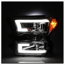 2017 f150 light bar 2015 2017 f150 spyder led light bar projector headlights chrome