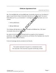 free child care agreement us territories legal templates