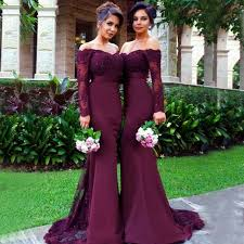 bridesmaid dress mermaid the shoulder sleeves burgundy bridesmaid