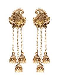 designer earrings buy mango designer earrings with 3 pearl tassels online