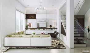 bright white living room idea with glass banister also white l