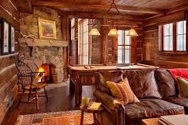 canapé cuir et bois rustique maison rustique entièrement en bois au montana états unis