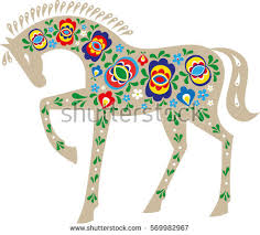 moravian folk ornament stock vector 483957889