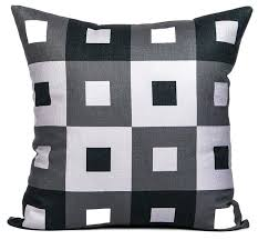Modern Throw Pillows For Sofa A Pex Black White And Gray Throw Pillow Cover Reviews Houzz Grey
