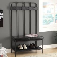 Entryway Coat Rack With Shoe Storage by Gray Metal Freestanding Entryway Furniture Set With Leather Padded