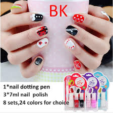 bk cute kids sweet color nail art kit designs white red blue