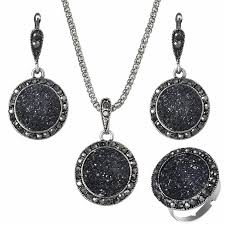 black gem necklace images 2018 wholesale vintage black gem jewelry set fashion women jewelry jpg