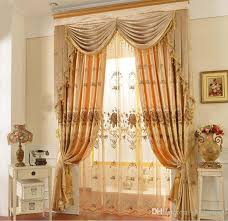 Sheer Embroidered Curtains 2017 Modern Jacquard Golden Blackout Embroidered Tulle Sheer