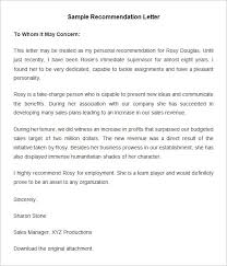 generic recommendation letter sample letter of recommendation