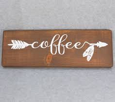 coffee arrow wood hand painted sign for kitchen home decor