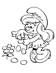 smurfette flower coloring u0026 coloring pages
