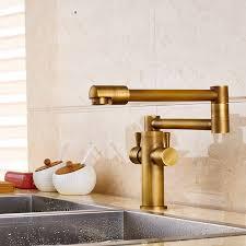Antique Brass Kitchen Faucet Deck Mounted Antique Brass Dual Handle Pot Filler Kitchen