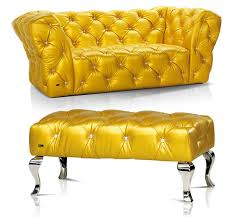 bertz yellow leather furniture screams bling with swarovski crystals