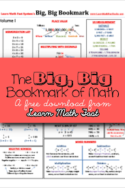 free math bookmark printable download cheat sheet from