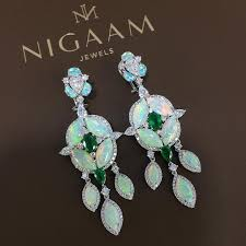 composite natural opal opal diamond and emerald earrings jewelry pinterest