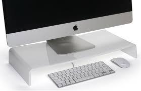 White Acrylic Desk by Acrylic Monitor Riser Keyboard Storage Space
