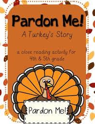thanksgiving reading activity pardon me a turkey s story