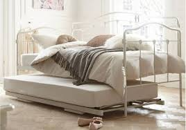 furniture white iron daybed with trundle using white bedding and