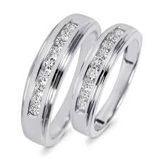 his and wedding sets 3 8 carat t w diamond his and hers wedding band set 14k white gold
