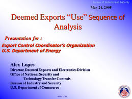 export bureau bureau of industry and security deemed exports use sequence of
