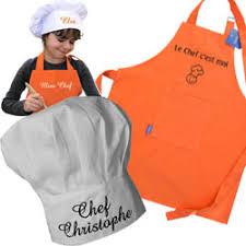 tablier de cuisine enfant personnalisé ensemble tablier et toque personnalisé pour enfant cadeau