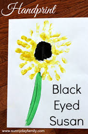 handprint flower craft for kids paint a black eyed susan sunny