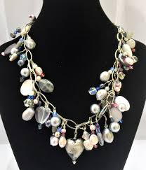 shell pearls necklace images Charm chain necklace with shell pearls labradorite and swarovski jpg