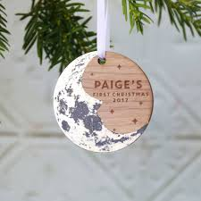 baby u0027s first christmas moon tree ornament by betsy benn