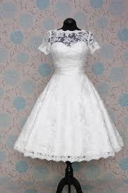 retro 50s 60s short tea length modest short sleeves wedding dress