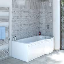 trojancast concert reinforced p shape shower bath 1500 rh