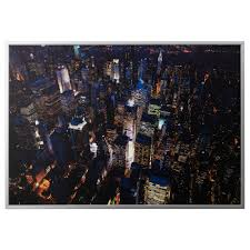 ready to hang frames pictures ikea bjOrksta picture and frame city lights new york aluminum color width 78