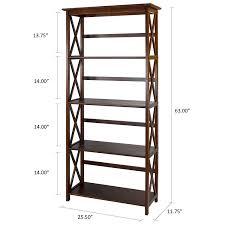 amazon com casual home 324 54 montego 5 tier bookcase walnut