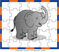 free printable elephant jigsaw puzzle game for kids style 1