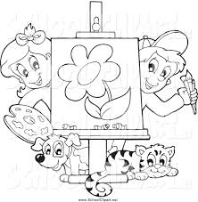 kids black and white clipart collection