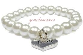 flower girl charms white pearl stretchy bracelet bridesmaid flower girl charms