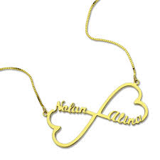 Infinity Name Necklace 18k Gold Plated Heart Infinity Name Necklace