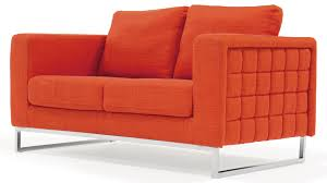 Upholstered Loveseat Chairs Modern Orange Fabric Upholstered 2 Piece Sofa Set With Stainless