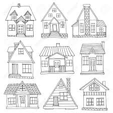 house set hand drawn cute cabins collection royalty free cliparts
