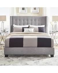 surprise 15 off melina tufted grey linen wingback bed by inspire