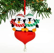 penguin w snowflake dangle personalized ornaments