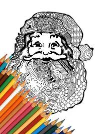 santa claus coloring printable zentangle design santa claus