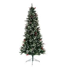 7 flocked faux tree with white lights berries